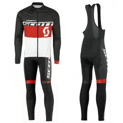 2016 Scott Team Black-Red-White Long Sleeve Cycling Jersey And Bib Pants Set
