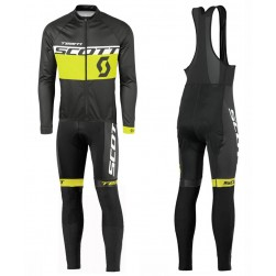 2016 Scott Team Black-Yellow Long Sleeve Cycling Jersey And Bib Pants Set