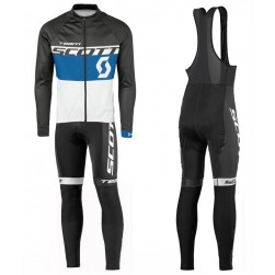 2016 Scott Team Black-Blue-White Long Sleeve Cycling Jersey And Bib Pants Set