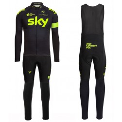 2016 Skу Team Fluo Edition Long Sleeve Cycling Jersey And Bib Pants Set