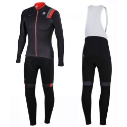 2016 Spоrtful JSW Black Long Sleeve Cycling Jersey And Bib Pants Set