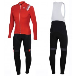 2016 Spоrtful JSW Red Long Sleeve Cycling Jersey And Bib Pants Set