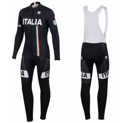 2016 Spоrtful Italy IT Black Long Sleeve Cycling Jersey And Bib Pants Set