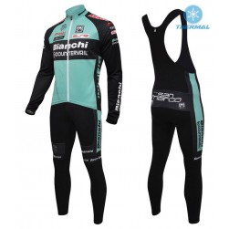 2016 Bianchi MTB Green Thermal Long Sleeve Cycling Jersey And Bib Pants Set