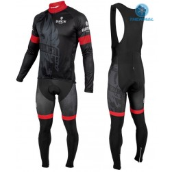 2016 Bianchi Milano Sorisole Black-Red Thermal Long Sleeve Cycling Jersey And Bib Pants Set