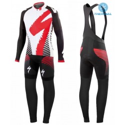 2016 SPED Team LS White-Red Thermal Long Sleeve Cycling Jersey And Bib Pants Set