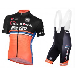 2016 Team DE-ROSA Black-Orange Jersey And Bib Shorts Set
