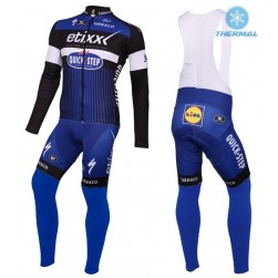2016 Etixx-Quick Step Blue Thermal Long Sleeve Cycling Jersey And Bib Pants Set