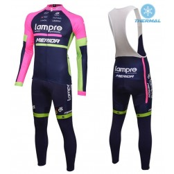 2016 Lampre Merida Thermal Long Sleeve Cycling Jersey And Bib Pants Set