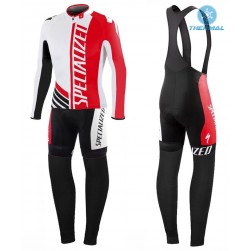 2016 SPED Pro Team SZK White-Red Thermal Long Sleeve Cycling Jersey And Bib Pants Set
