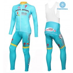 2016 Astana Pro Team Thermal Long Sleeve Cycling Jersey And Bib Pants Set
