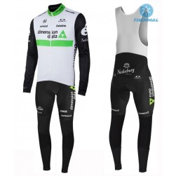 2016 Team Dimension Date White Thermal Long Sleeve Cycling Jersey And Bib Pants Set