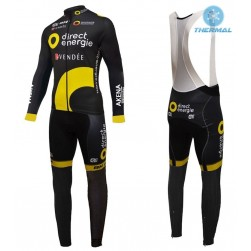 2016 Direct Energie Team Black Thermal Long Sleeve Cycling Jersey And Bib Pants Set