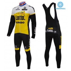 2016 Lotto-Jumbo Yellow Thermal Long Sleeve Cycling Jersey And Bib Pants Set