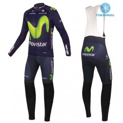2016 Movistar Team Thermal Long Sleeve Cycling Jersey And Bib Pants Set