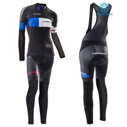2016 Orbea Pro Women Black-Blue Thermal Long Sleeve Cycling Jersey And Bib Pants Set