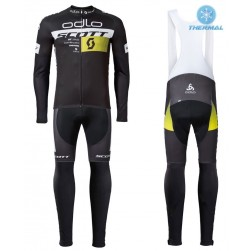 2016 Scott ODLO Team Black Thermal Long Sleeve Cycling Jersey And Bib Pants Set