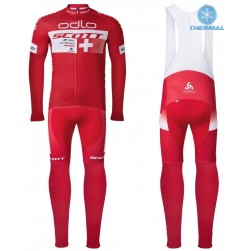 2016 Scott ODLO Team Red Thermal Long Sleeve Cycling Jersey And Bib Pants Set