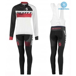 2016 Scott RC White-Black-Red Women Thermal Long Sleeve Cycling Jersey And Bib Pants Set