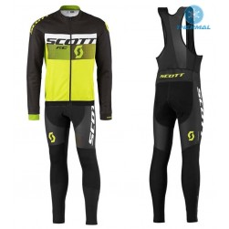 2016 Scott RC Black-White-Green Fluo Thermal Long Sleeve Cycling Jersey And Bib Pants Set