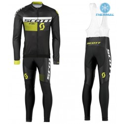 2016 Scott RC Black-Yellow Thermal Long Sleeve Cycling Jersey And Bib Pants Set