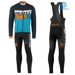 2016 Scott RC Black-Yellow-Blue Thermal Long Sleeve Cycling Jersey And Bib Pants Set