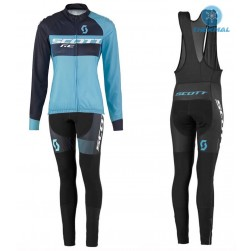 2016 Scott RC Black-Blue Women Thermal Long Sleeve Cycling Jersey And Bib Pants Set
