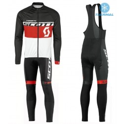 2016 Scott Team Black-Red-White Thermal Long Sleeve Cycling Jersey And Bib Pants Set