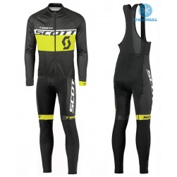 2016 Scott Team Black-Yellow Thermal Long Sleeve Cycling Jersey And Bib Pants Set