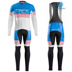 2016 Bontrager Trek Specter Vintage White-Blue Thermal Long Sleeve Cycling Jersey And Bib Pants Set