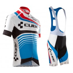 2016 Cube Teamline White-Blue Cycling Jersey And Bib Shorts Set
