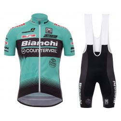 2017 Bianchi Countervail Green Cycling Jersey And Bib Shorts Set