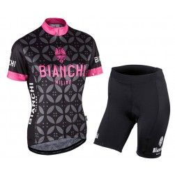 26abb54ee 2017 Bianchi Milano Malgina Black-Pink Women s Cycling Jersey And Shorts Set