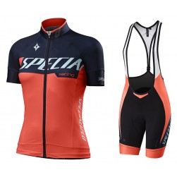 2017 Sped Racing Women's Orange-Black Cycling Jersey And Bib Shorts Set