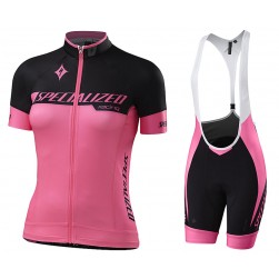 2017 Sped Racing Women's Black-Pink Cycling Jersey And Bib Shorts Set