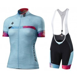 2017 Sped Women's Blue-Color Cycling Jersey And Bib Shorts Set