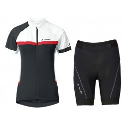 2017 Vaude Pro II Women's White-Red-Black Cycling Jersey And Shorts Set