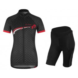 2017 Vaude Flower With Dot Black-White Cycling Jersey And Shorts Set