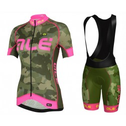 2017 Ale Graphics PRR Camo Women's Green-Pink Cycling Jersey And Bib Shorts Set