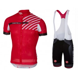 2017 Casteli Free AR 4.1 Red Cycling Jersey And Bib Shorts Set