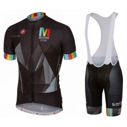 2017 Casteli Maratona Team Black Cycling Jersey And Bib Shorts Set