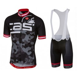 2017 Casteli Attacco Black Cycling Jersey And Bib Shorts Set