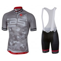 2017 Casteli Attacco Grey Cycling Jersey And Bib Shorts Set