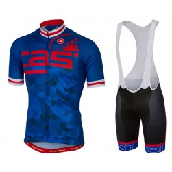 2017 Casteli Attacco Blue Cycling Jersey And Bib Shorts Set