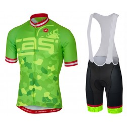 2017 Casteli Attacco Green Cycling Jersey And Bib Shorts Set
