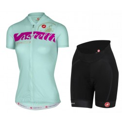 2017 Casteli Favolosa Women's Light Green Cycling Jersey And Shorts Set