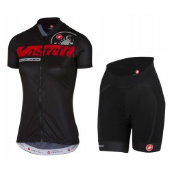 2017 Casteli Favolosa Women's Black Cycling Jersey And Shorts Set