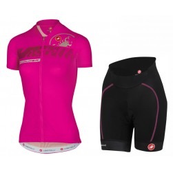2017 Casteli Favolosa Women's Pink Cycling Jersey And Shorts Set