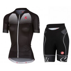 2017 Casteli Aero Race Women's Black Cycling Jersey And Shorts Set