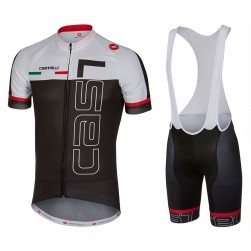 2017 Casteli Spunto White-Black Cycling Jersey And Bib Shorts Set